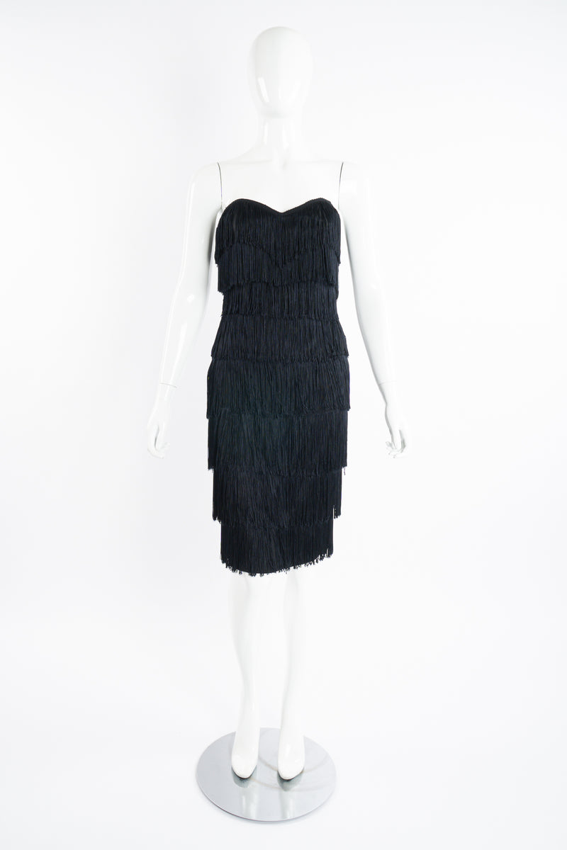 Vintage Norma Kamali Strapless Fringe Shimmy Sheath on Mannequin front at Recess Los Angeles