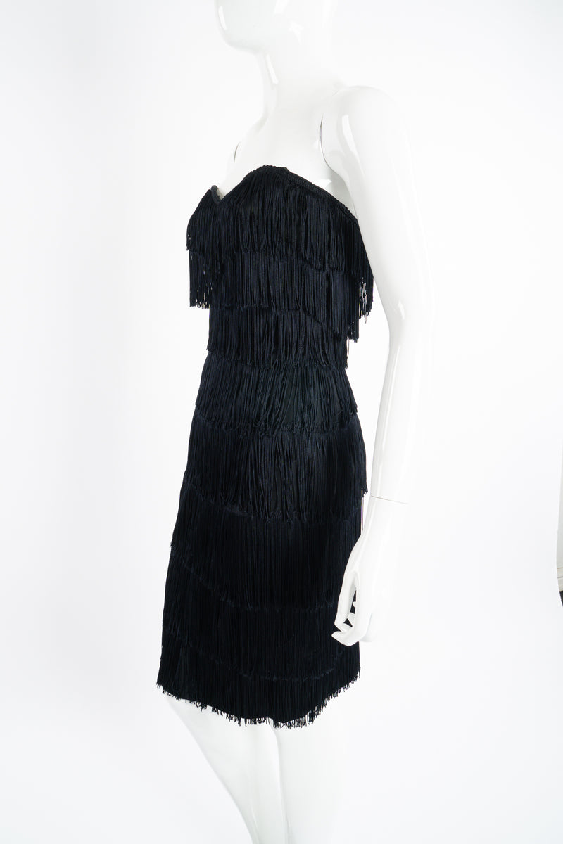 Vintage Norma Kamali Strapless Fringe Shimmy Sheath on Mannequin angle at Recess Los Angeles
