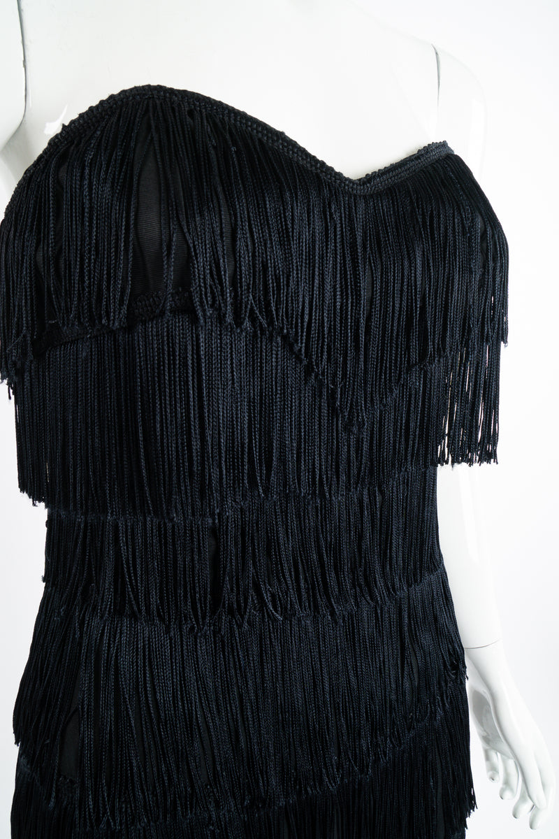 Vintage Norma Kamali Strapless Fringe Shimmy Sheath on Mannequin bust at Recess Los Angeles
