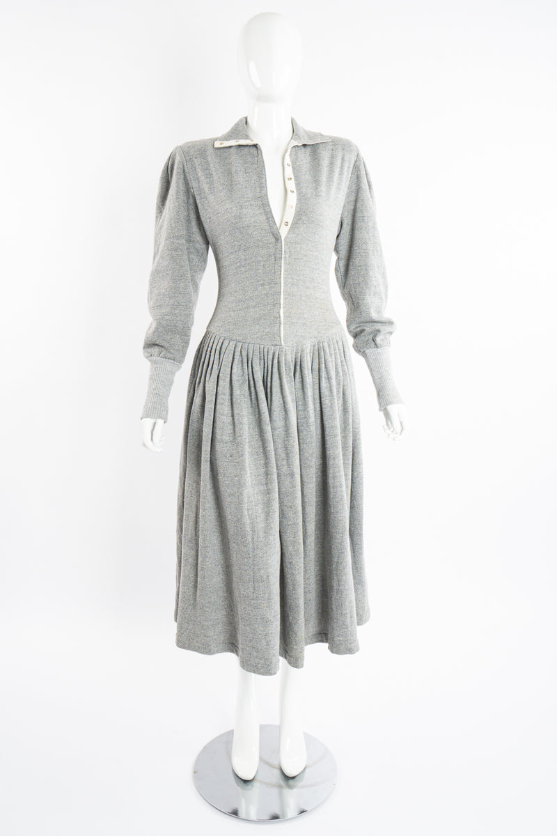 Vintage Norma Kamali Iconic Fleece Sweatshirt Dress on Mannequin front open at Recess Los Angeles