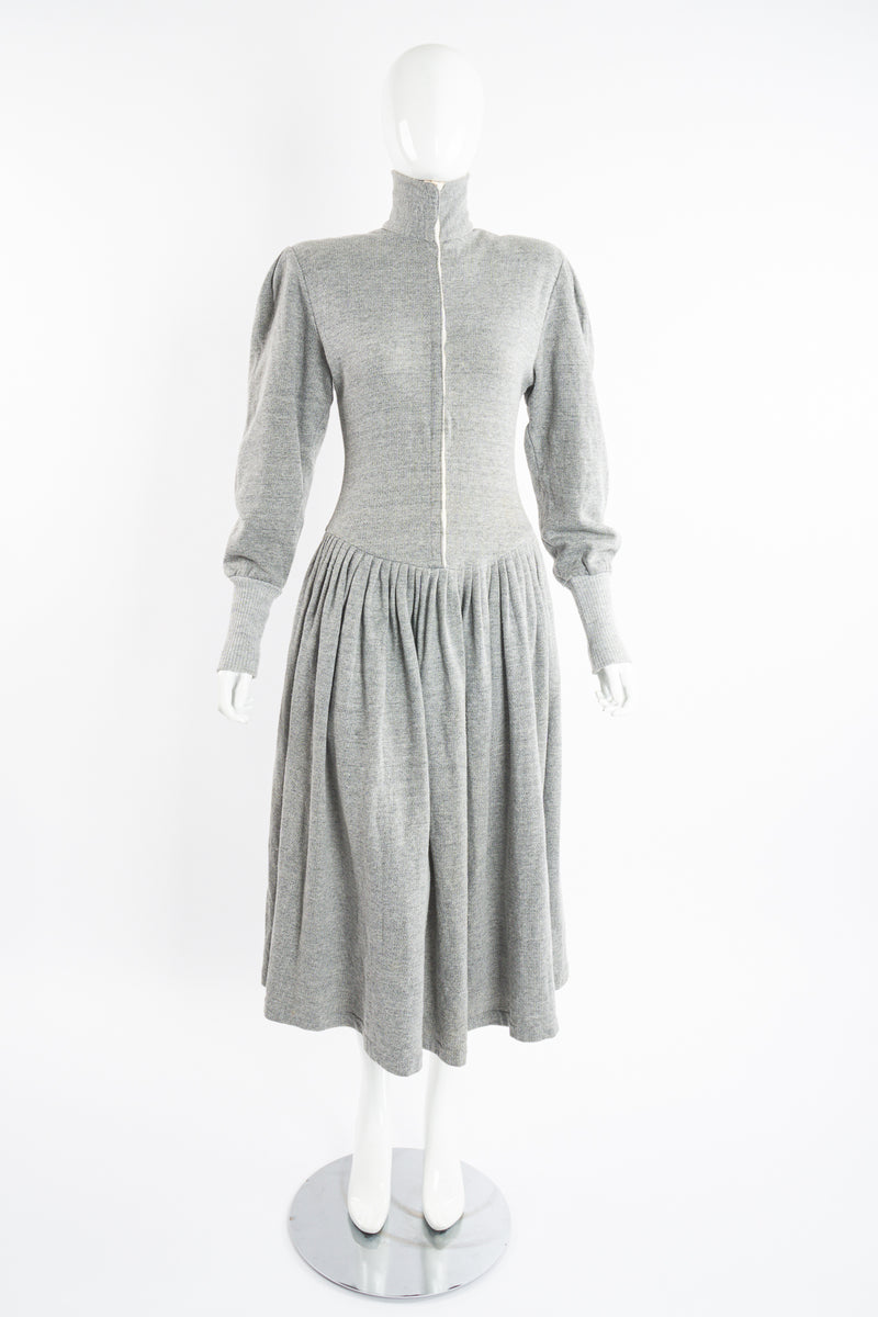 Vintage Norma Kamali Iconic Fleece Sweatshirt Dress on Mannequin front at Recess Los Angeles