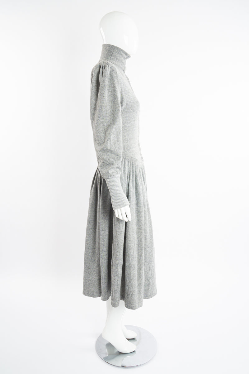 Vintage Norma Kamali Iconic Fleece Sweatshirt Dress on Mannequin side at Recess Los Angeles