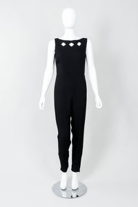 Vintage Norma Kamali Crepe Diamond Cutout Jumpsuit Catsuit on Mannequin, front at Recess
