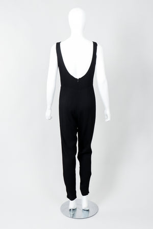 Vintage Norma Kamali Crepe Diamond Cutout Jumpsuit Catsuit on Mannequin, back at Recess