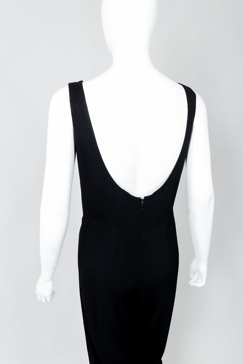 Vintage Norma Kamali Crepe Diamond Cutout Jumpsuit Catsuit on Mannequin, back crop at Recess
