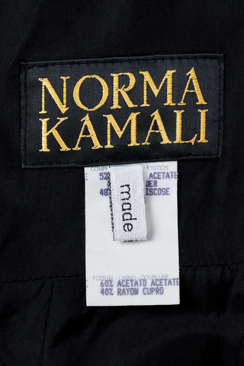 Vintage Norma Kamali label on black