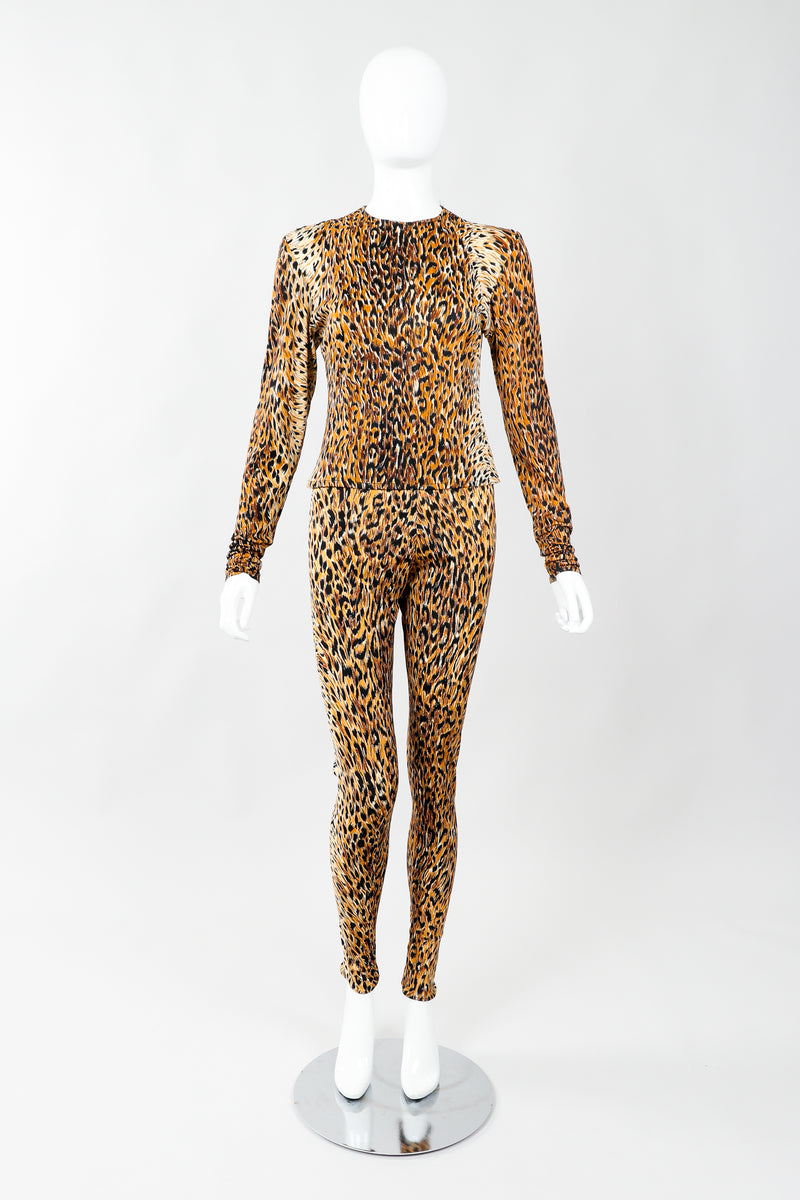 Vintage Norma Kamali Slinky Animal Print Top & Pant Leisure Set on Mannequin front, at Recess