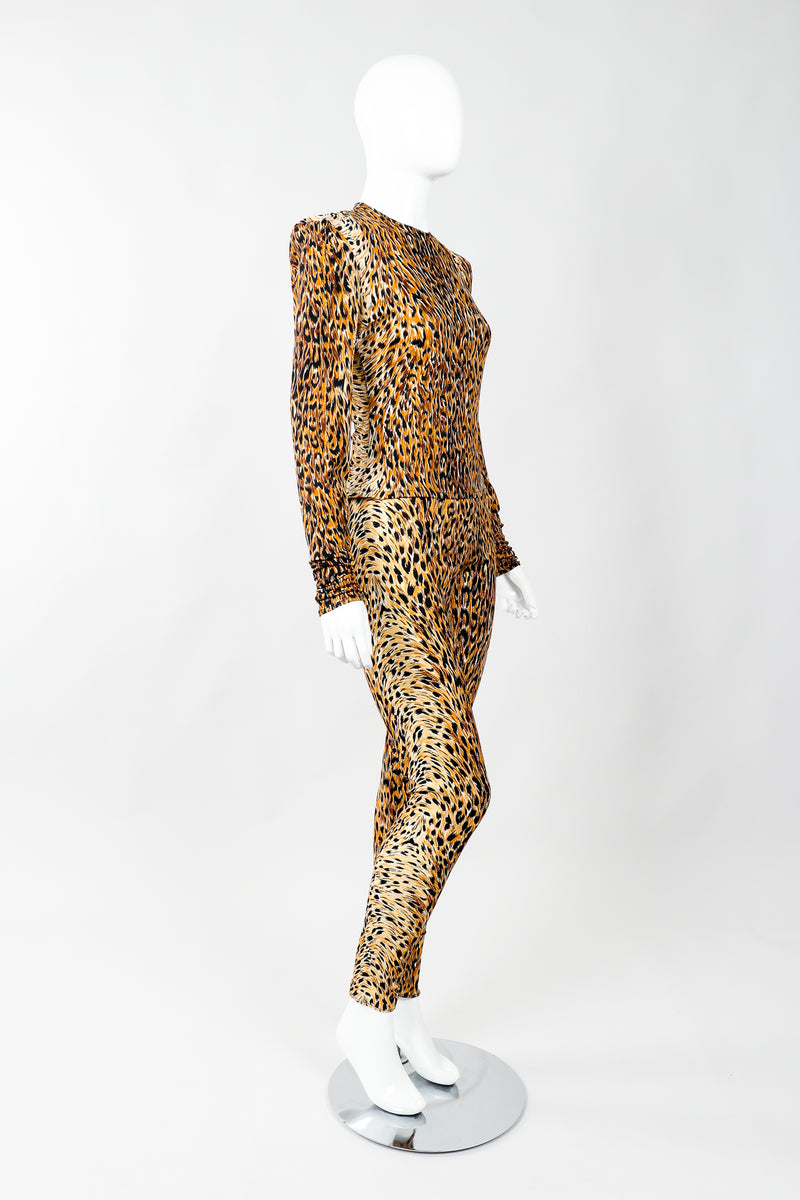 Vintage Norma Kamali Slinky Animal Print Top & Pant Leisure Set on Mannequin side, at Recess