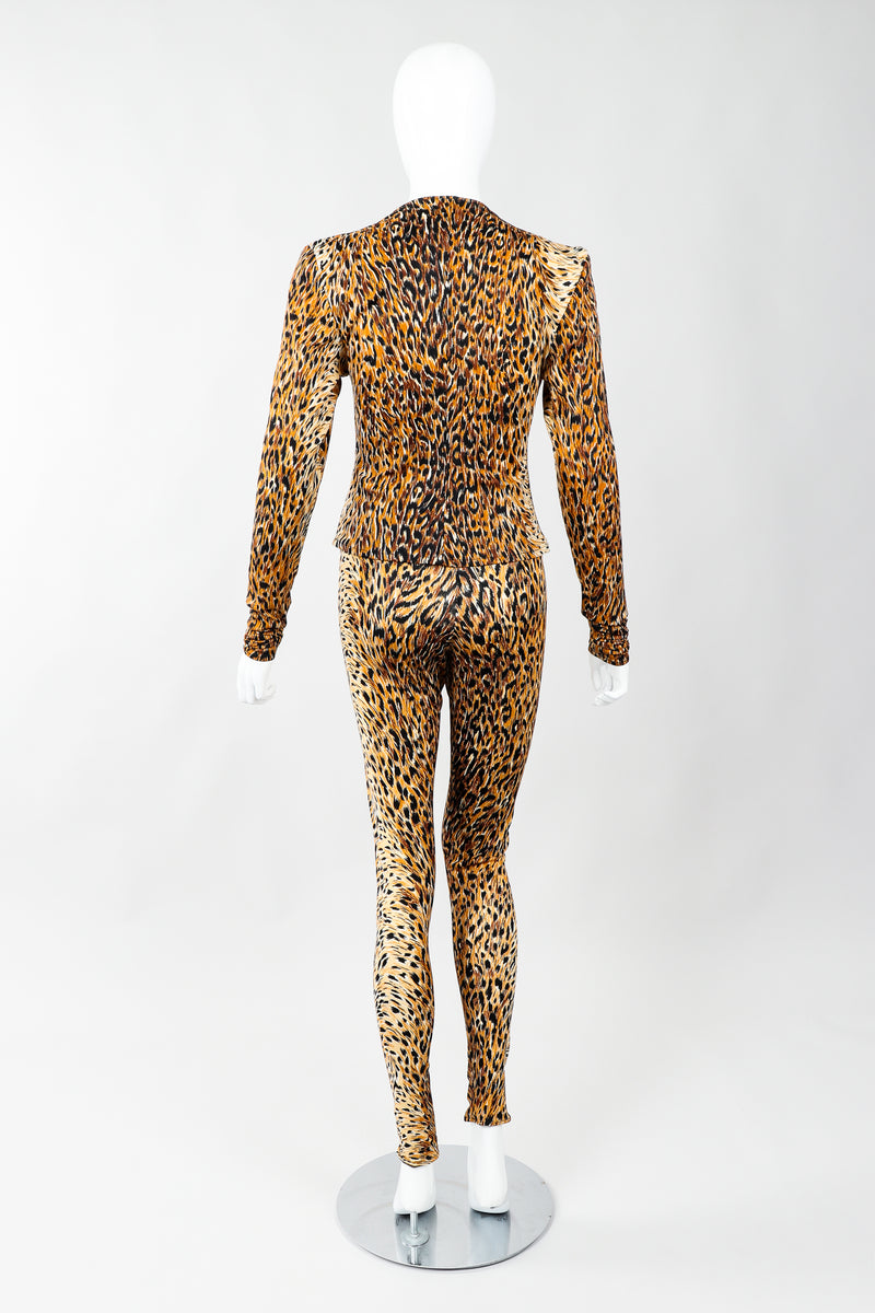 Vintage Norma Kamali Slinky Animal Print Top & Pant Leisure Set on Mannequin back, at Recess