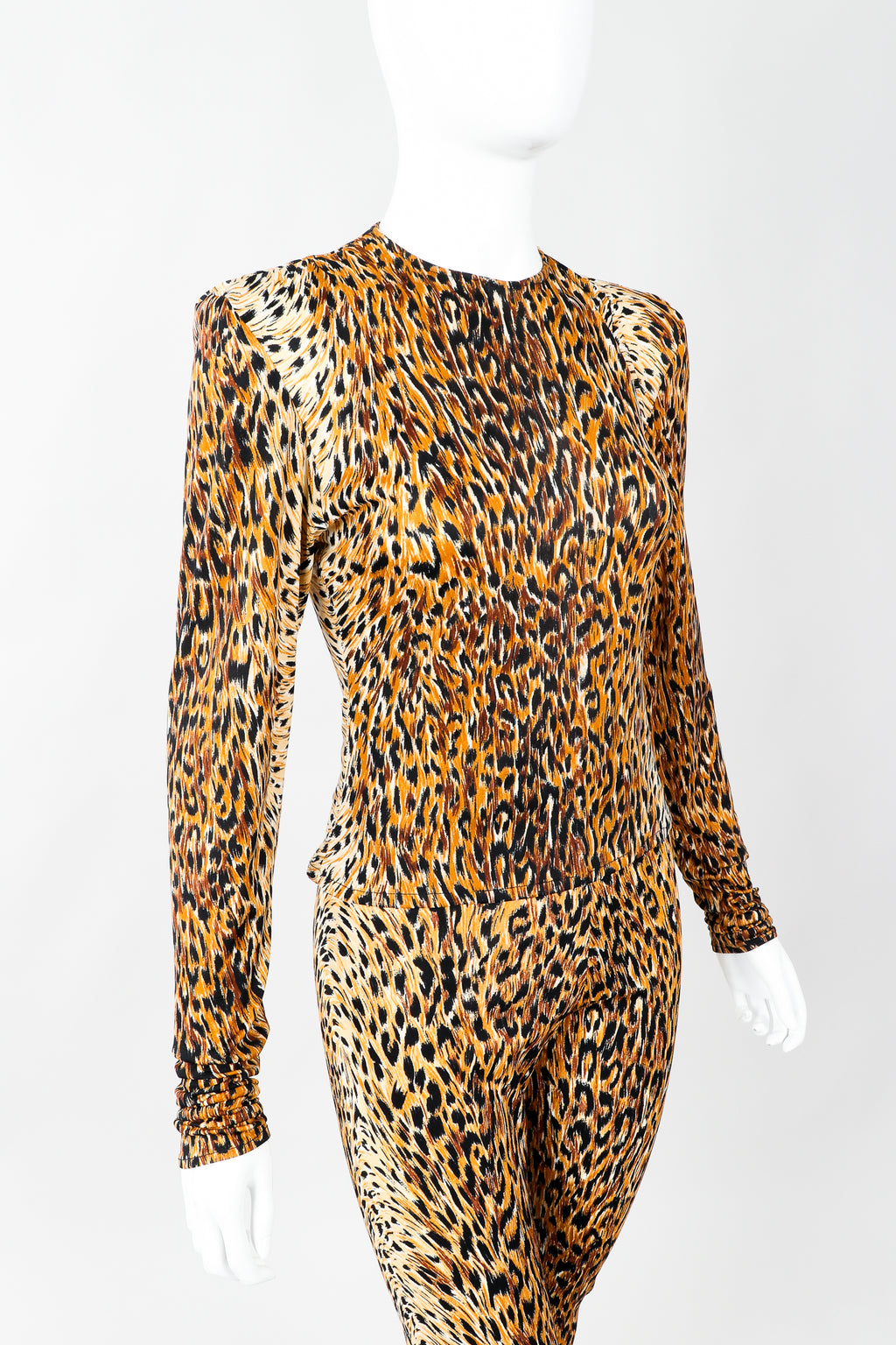 Vintage Norma Kamali Slinky Animal Print Top & Pant Leisure Set on Mannequin cropped, at Recess