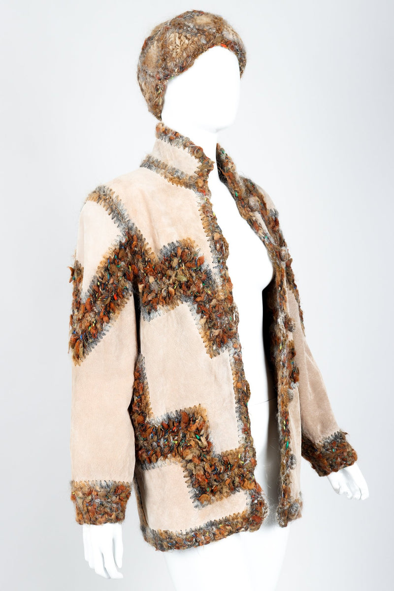 Vintage Norma Persian Lamb Fur Reversible Patchwork Jacket & Hat Set on Mannequin Suede at Recess