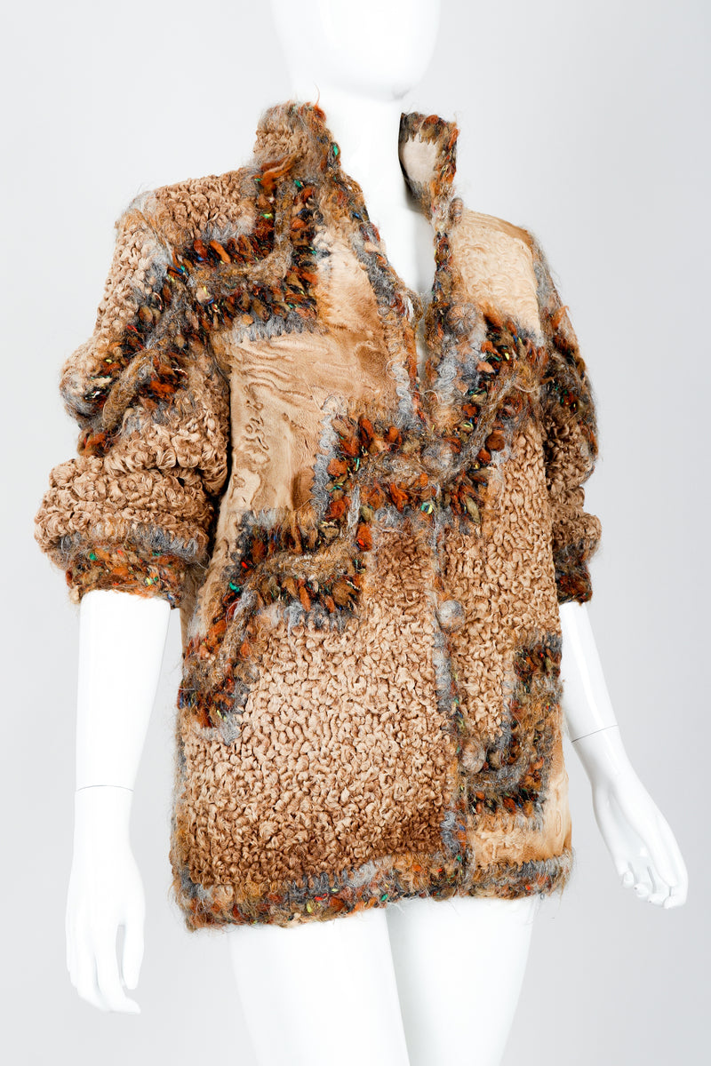 Vintage Norma Persian Lamb Fur Reversible Patchwork Jacket on Mannequin Crop at Recess