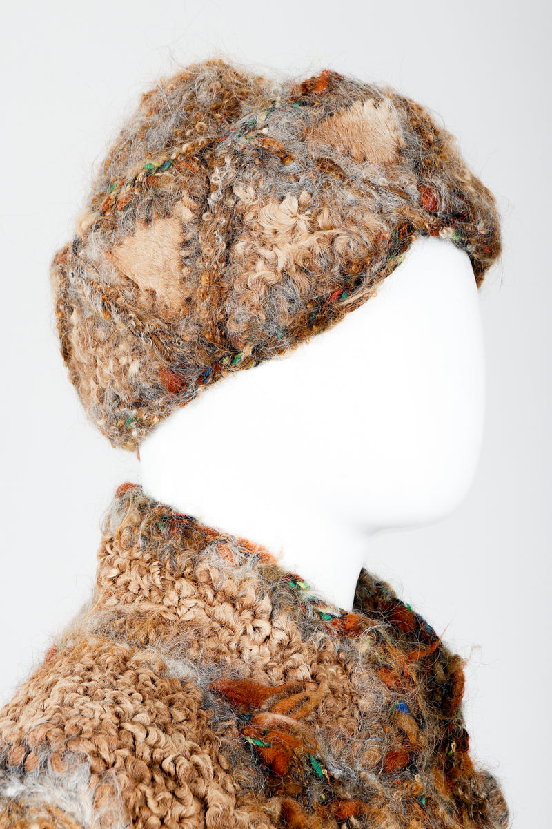 Vintage Norma Persian Lamb Fur Reversible Patchwork Jacket & Hat Set on Mannequin Head at Recess