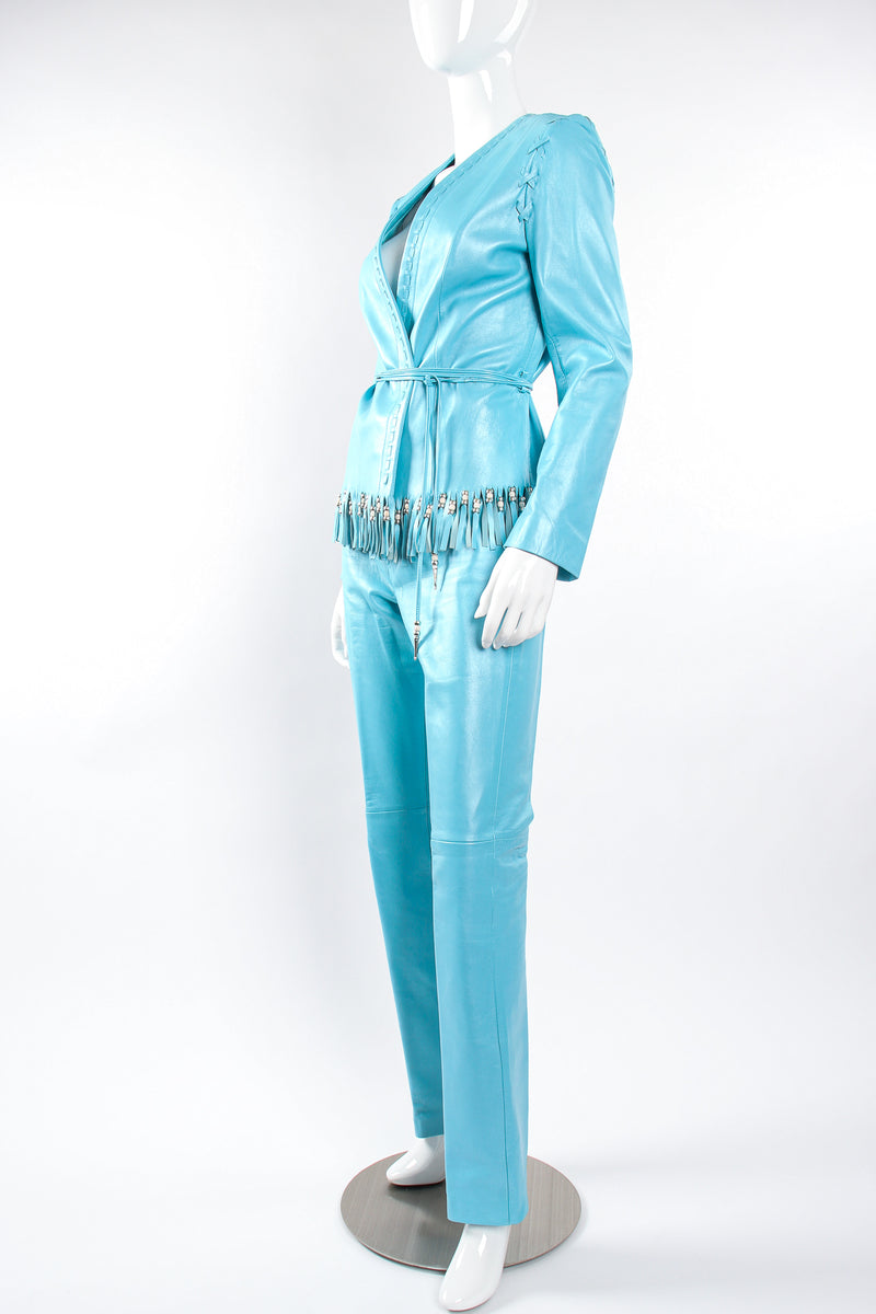 Vintage Michael Hoban North Beach Leather Fringed Jacket & Pant Set on Mannequin angle @ Recess LA