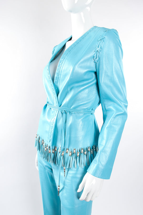 Vintage Michael Hoban North Beach Leather Fringed Jacket & Pant Set on Mannequin crop @ Recess LA