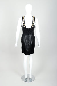 Vintage Michael Hoban for North Beach Leather Leather Bodycon Dress Back at Recess