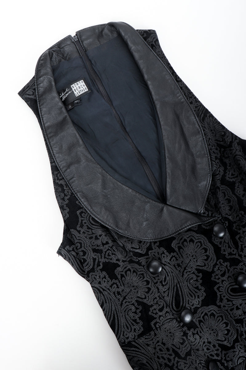 Vintage North Beach Leather Paisley Tuxedo Dress Collar Details at Recess