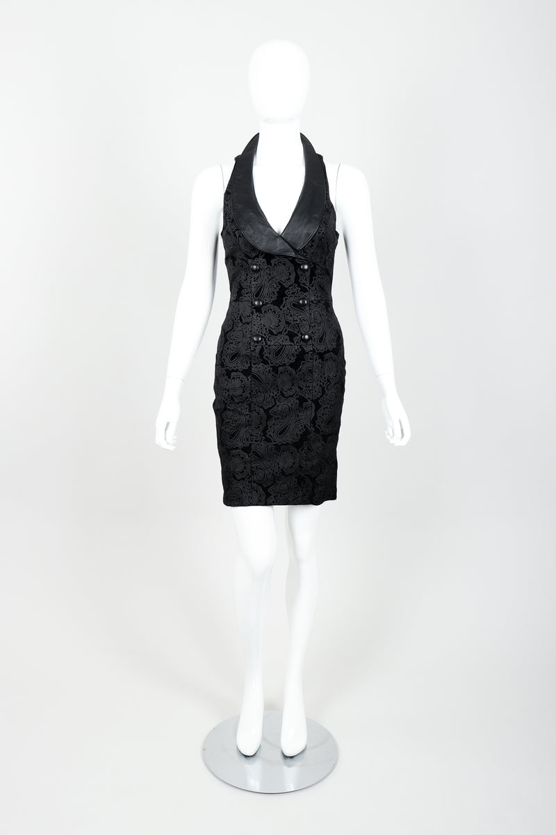 Vintage North Beach Leather Paisley Tuxedo Dress on Mannequin Front at Recess
