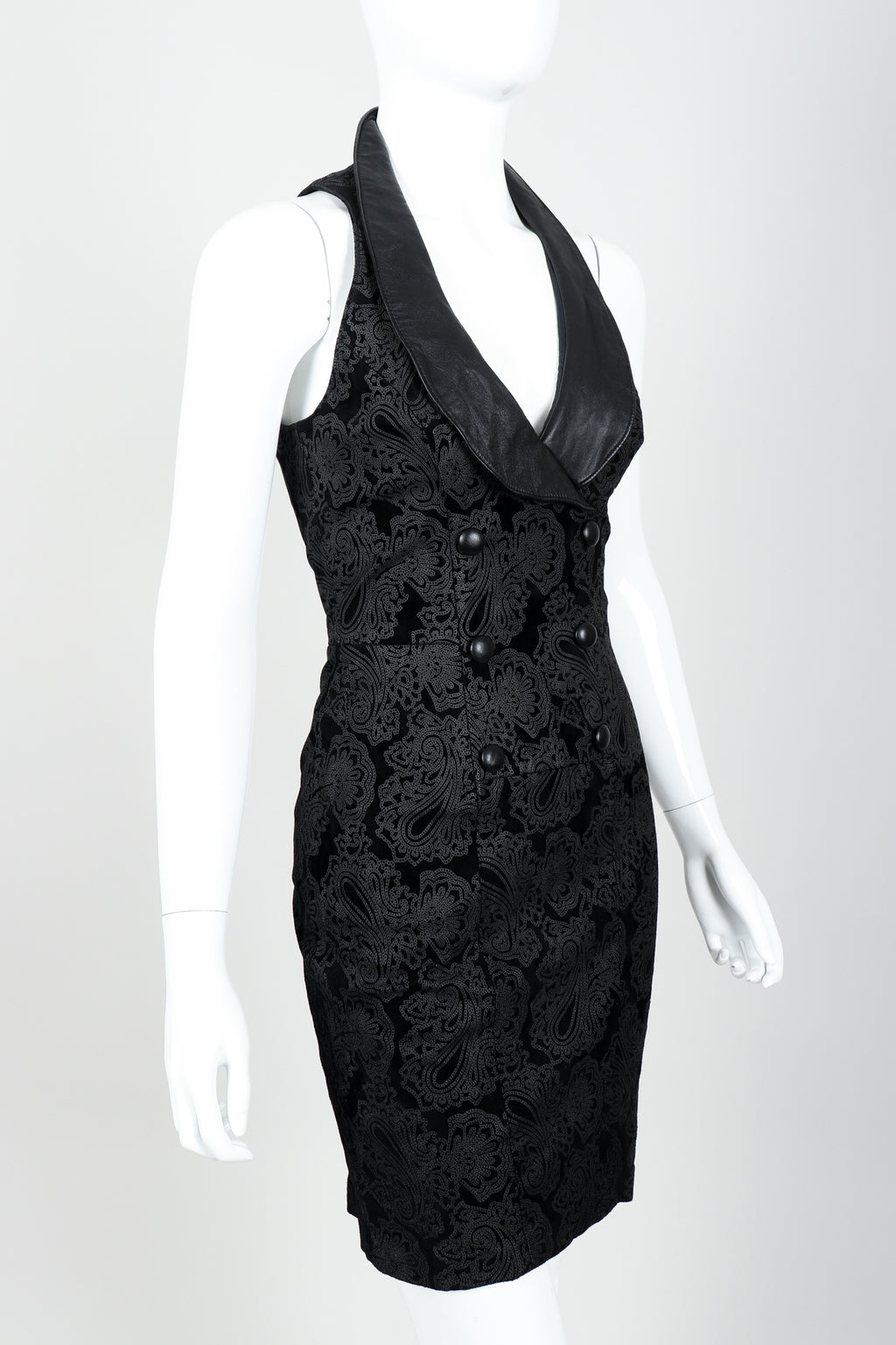 Vintage North Beach Leather Paisley Tuxedo Dress on Mannequin Angled at Recess