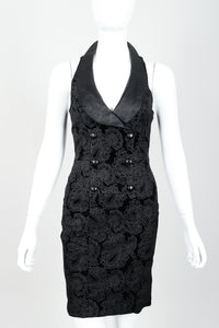 Vintage North Beach Leather Paisley Tuxedo Dress on Mannequin Front Crop at Recess