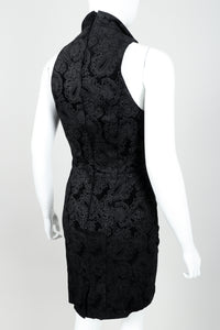 Vintage North Beach Leather Paisley Tuxedo Dress on Mannequin Rear at Recess