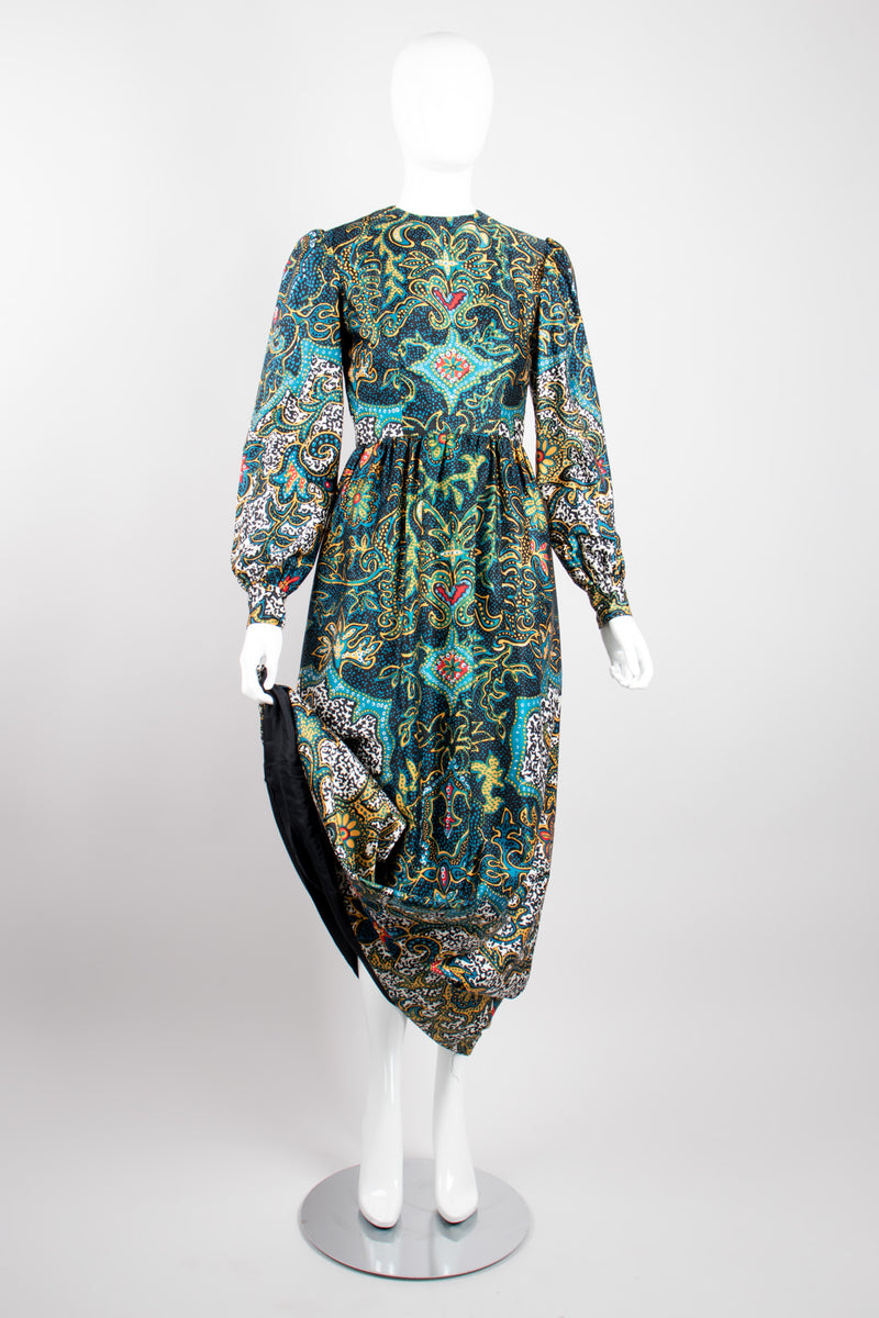 Oscar de la Renta Boutique Vintage Silk Dotted Batik Print Dress