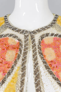 Oleg Cassini Black Tie Sequin Angel Wing Jacket