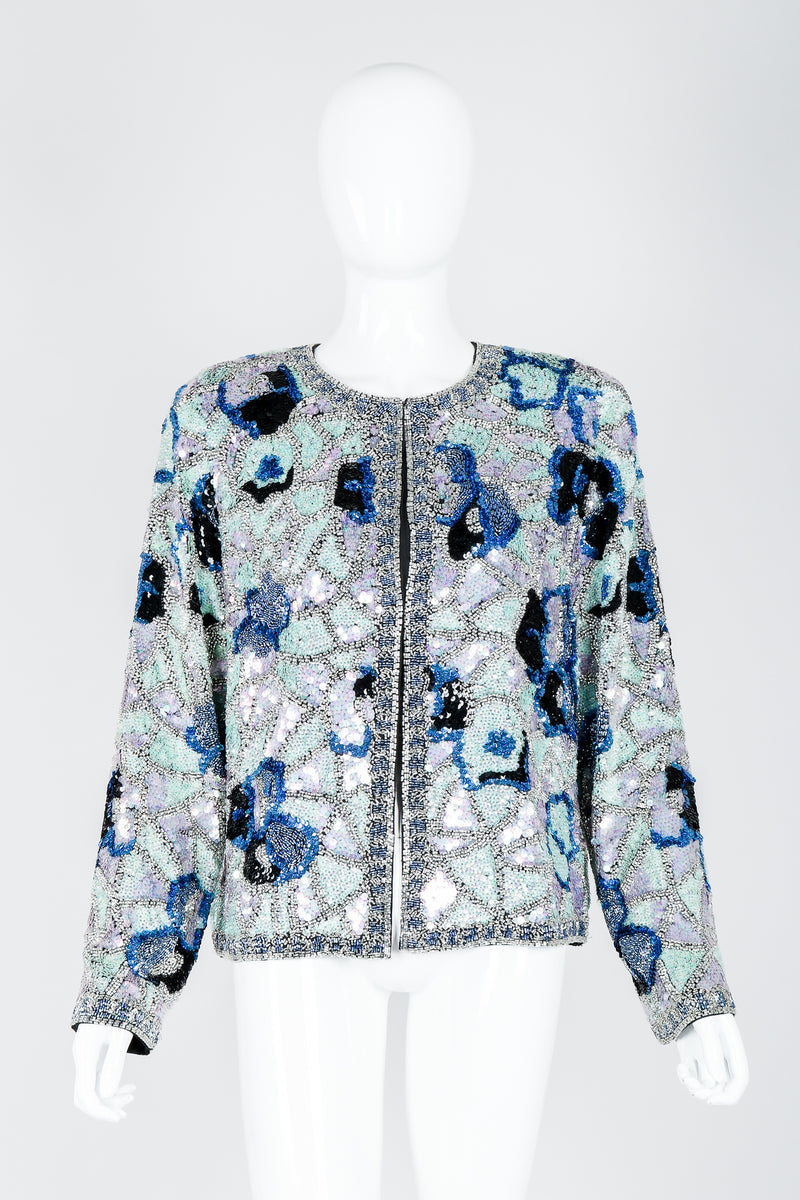 Vintage Oleg Cassini Black Tie Silver Blue Sequined Mosaic Boxy Jacket on Mannequin at Recess