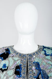 Vintage Oleg Cassini Black Tie Sequined Mosaic Boxy Jacket Neck View on Mannequin at Recess
