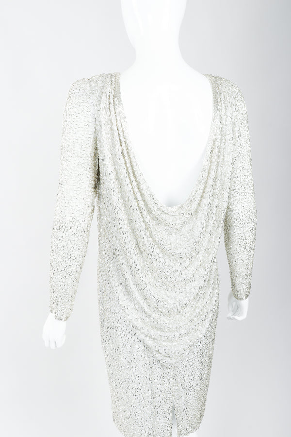 Vintage Oleg Cassini Black Tie Silver Beaded Cowl Dress on Mannequin, Back at Recess Los Angeles