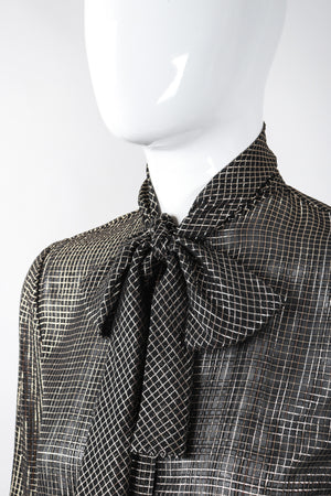 Recess Los Angeles Vintage Jerry SIlverman by Miliosa Gold Lamé Graph Check Bow Blouse