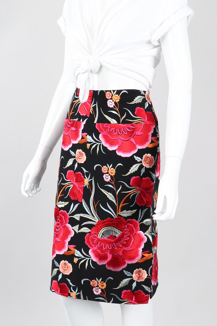 Recess Los Angeles Vintage OMO Norma Kamali Floral Embroidered Piano Skirt