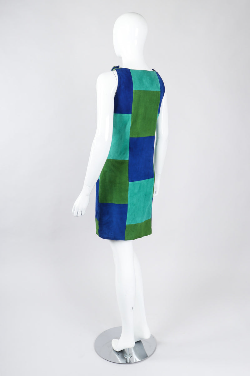 Recess Los Angeles Vintage OMO Norma Kamali Colorblock Patchwork Suede Shift Dress