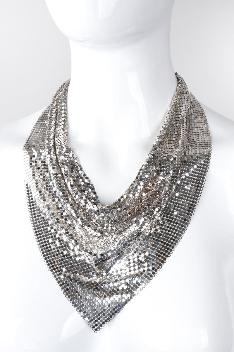 Recess Los Angeles Vintage Oromesh Silver Metal Mesh Bib Necklace Drapey