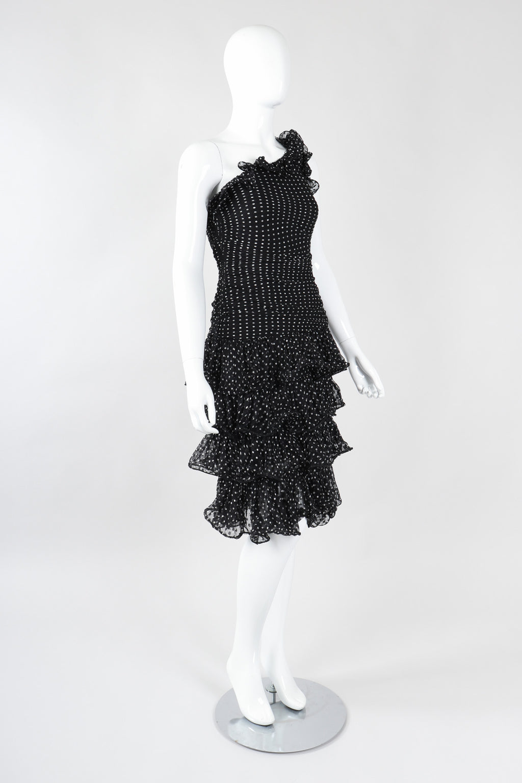 Recess Los Angeles Vintage Oscar de la Renta One-Shoulder Dotted Chiffon Ruffle Dress