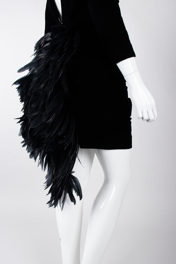Recess Los Angeles Vintage Oscar de la Rental Velvet Raven Tail Feather Bustle Dress