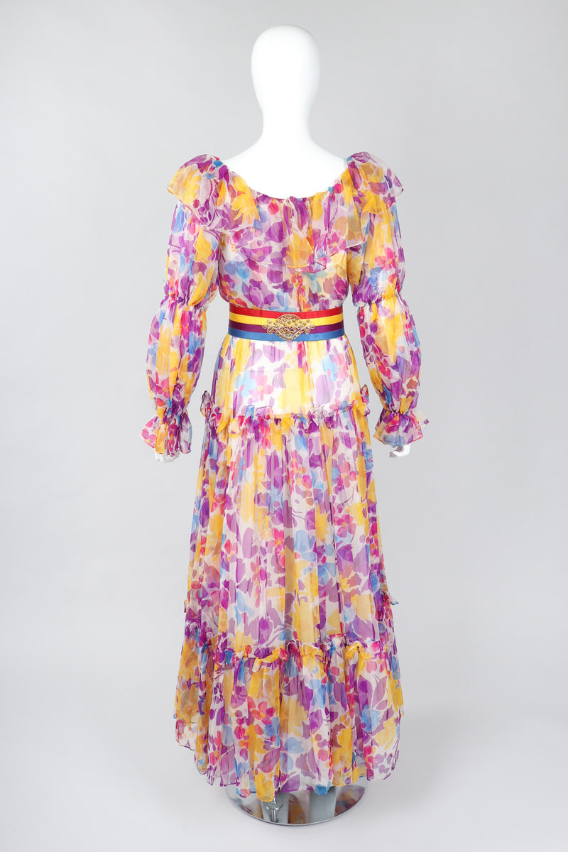 Recess Los Angeles Vintage Oscar de la Renta Sheer Organza Belted Floral Peasant Dress