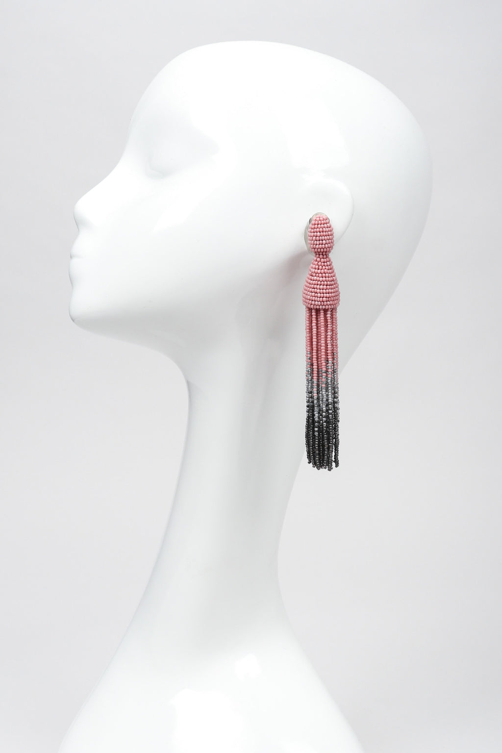 Recess Los Angeles Vintage Oscar de la Renta Beaded Squid Tassel Earrings