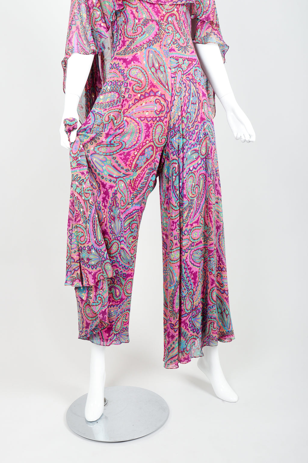 Vintage Oscar de la Renta Paisley Silk Cape Jumpsuit on mannequin legs at Recess Los Angeles