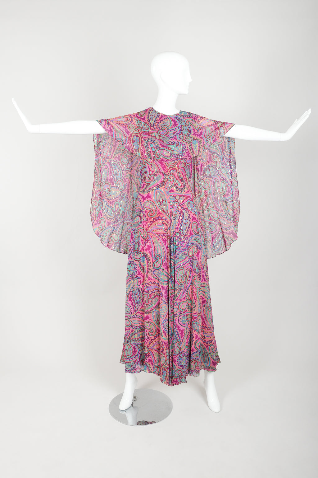 Vintage Oscar de la Renta Paisley Silk palazzo Cape Jumpsuit on mannequin front at Recess