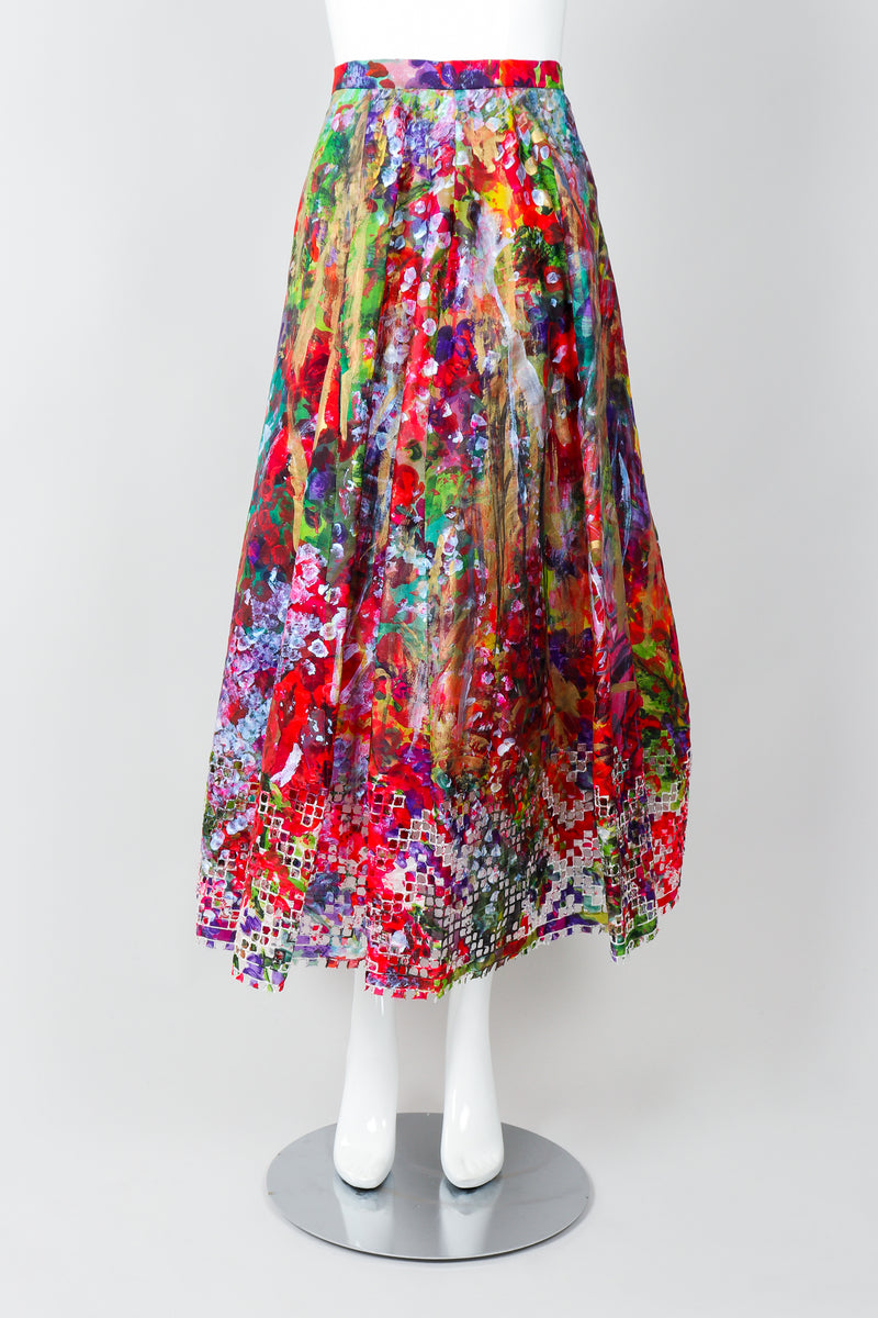 Vintage Oscar de la Renta Painted Impressionist Midi Skirt on Mannequin, Front at Recess