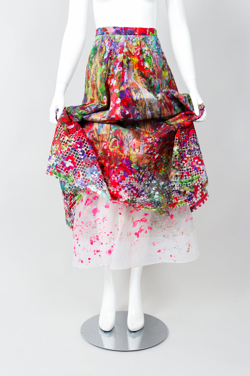 Vintage Oscar de la Renta Painted Impressionist Midi Skirt Lining on Mannequin, Front at Recess