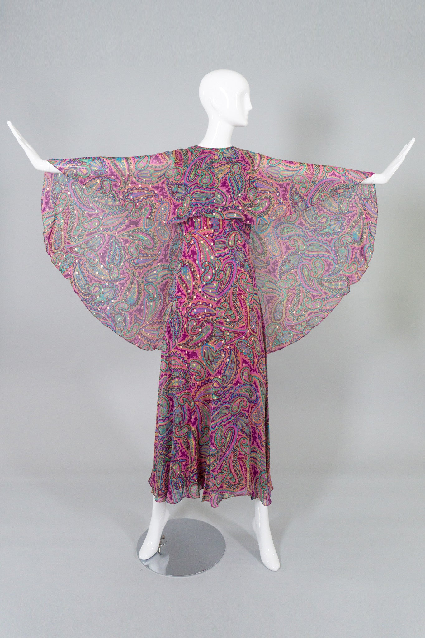 Oscar de la Renta Vintage Paisley Sheer Silk Chiffon Cape Dress