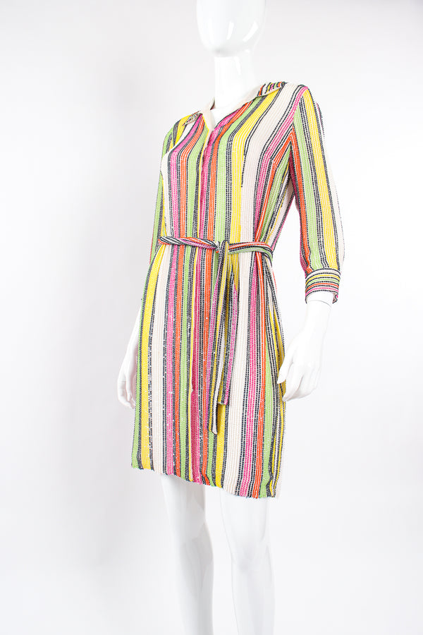Vintage Oscar de la Renta Beaded Skittle Stripe Shirtdress Swim Cover on Mannequin angle @ Recess