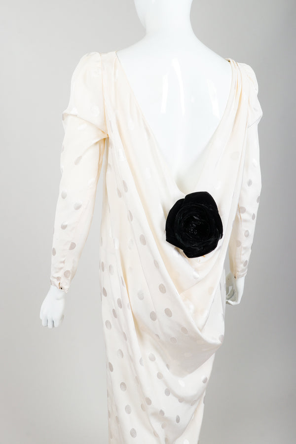 Vintage Oscar de la Renta Cowl Back Rosette Dress Bridal Wedding on Mannequin Back Crop at Recess