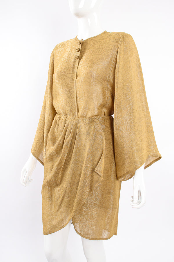 Vintage Oscar de la Renta Sheer Metallic Tunic & Wrap Skirt Set on Mannequin angle at Recess LA