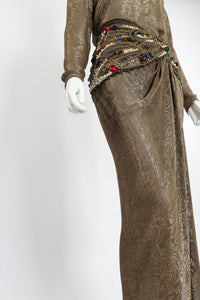 Vintage Oscar de la Renta Jeweled Lamé Wrap Skirt Set on Mannequin Angle crop at Recess LA