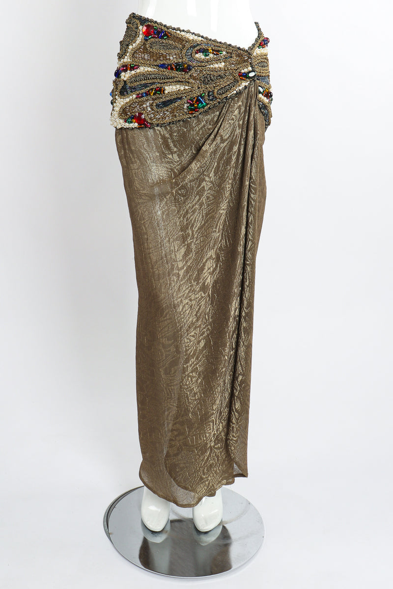 Vintage Oscar de la Renta Jeweled Lamé Wrap Skirt on Mannequin Front at Recess LA