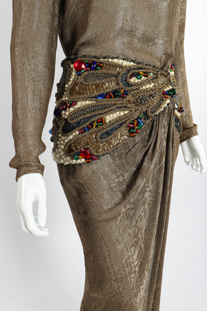 Vintage Oscar de la Renta Jeweled Lamé Wrap Skirt Set on Mannequin waist hip at Recess LA