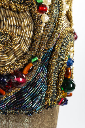Vintage Oscar de la Renta Jeweled Lamé Wrap Skirt Set jewel detail at Recess LA